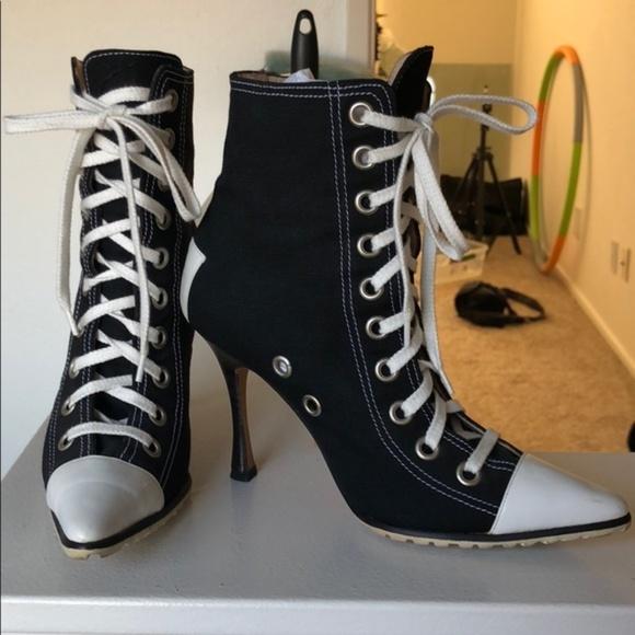 Manolo Blahnik Shoes | Converse Style Heeled Sneaker Boots | Poshma