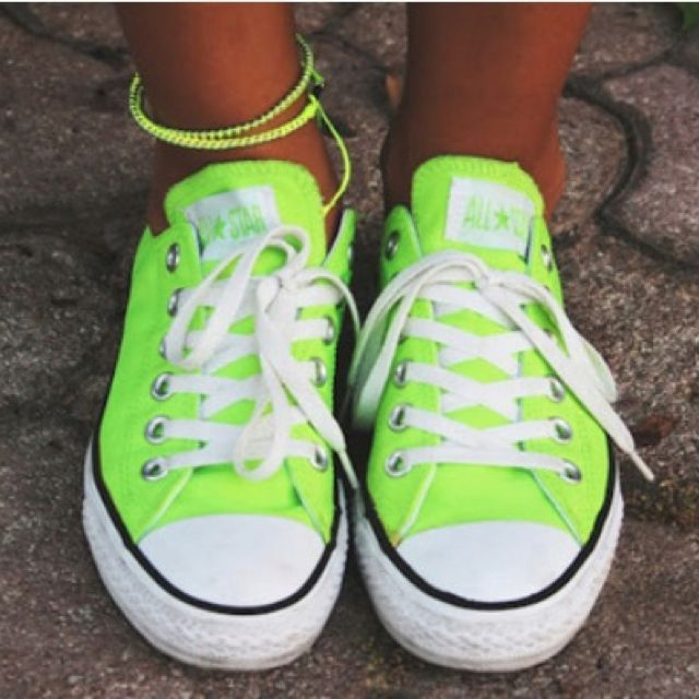 Neon green low-tops | Converse, Green converse, Cute conver