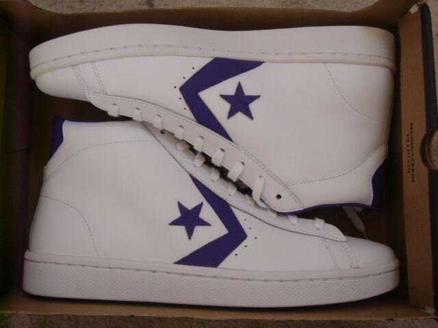 NIB Converse Pro Leather 76 Mid White/Candy Grape 156692C US Mens .
