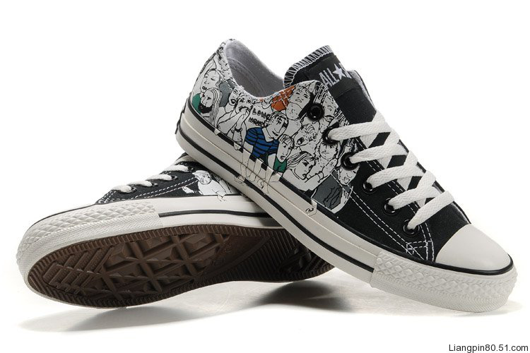 mens and womens Converse new canvas shoes black white piebald .