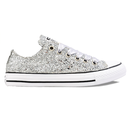 Women's Sparkly Silver Glitter Converse All Stars Chucks Sneakers .