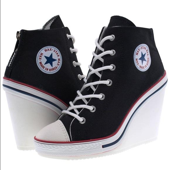 Maxstar Shoes | Converse Style Wedge Black Canvas | Poshma