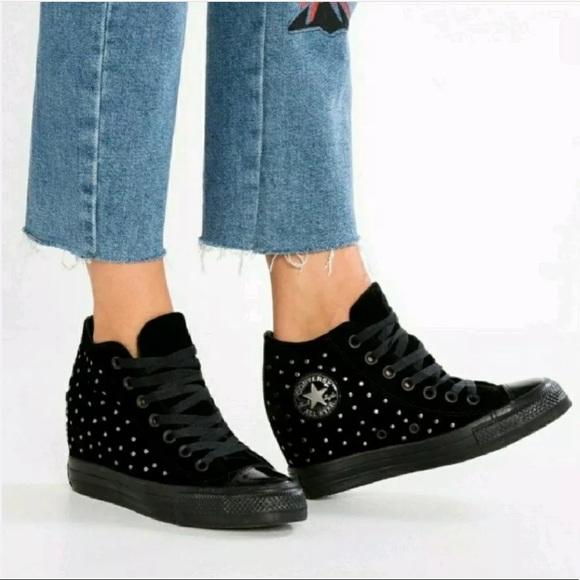 Converse Shoes | Wedge Chuck Taylor Lux Black Velvet New | Poshma