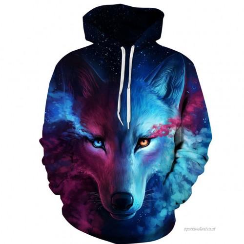 Sweats Hoodies Men'S Pullover 3D wolf pattern Hoodie Street Club .