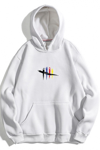 Unique Cool Painting Bird Pattern Loose Casual Pullover Hoodie .