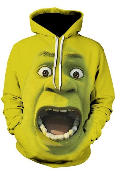 3D Cool Pattern Long Sleeve Loose Fit Pullover Green Hoodie .