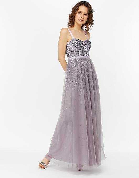 Courtney Embellished Corset Dress | Grey | UK 16 / US 12 / EU 44 .