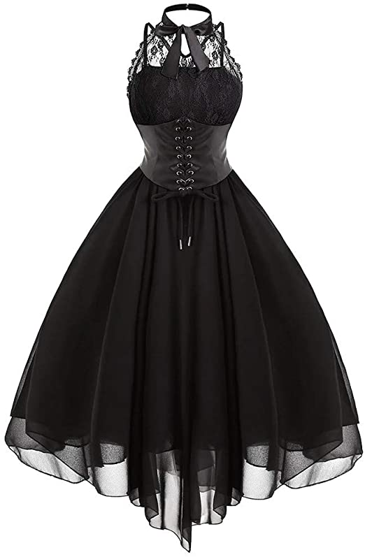 Amazon.com: Gothic Lace up Halter Sleeveless Corset Dress for .