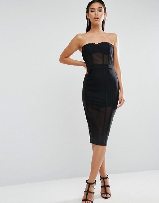 ASOS PREMIUM Corset Mesh Paneled Pencil Dress | AS