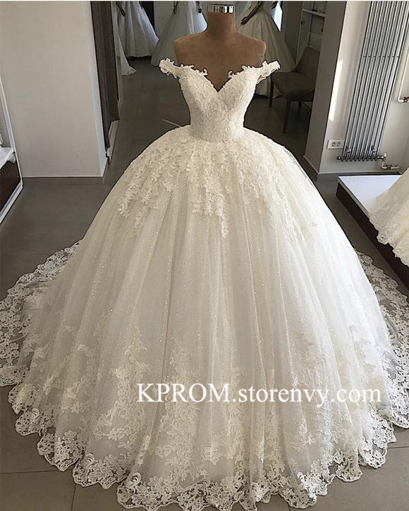 Luxury Puffy Wedding Dresses Lace Applique White Ball Gown Bridal .