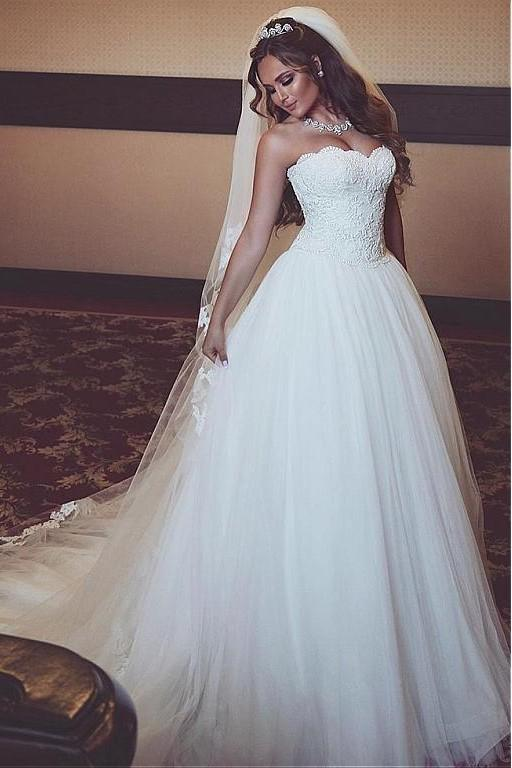 A-line Strapless Lace Corset Wedding Dresses Ivory Tulle Skirt .