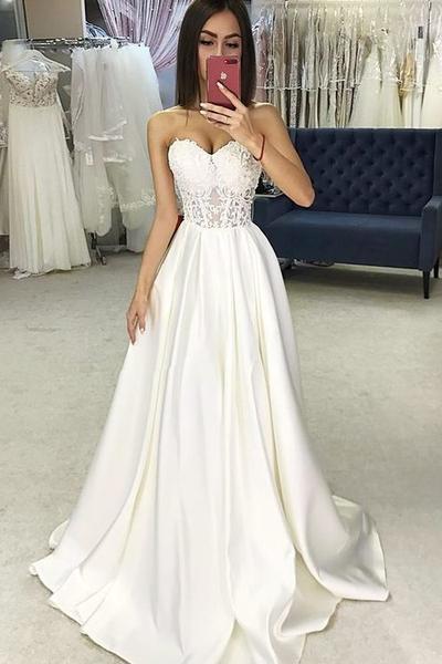 Sweetheart Sheer Lace Corset Wedding Dresses Satin Skirt .