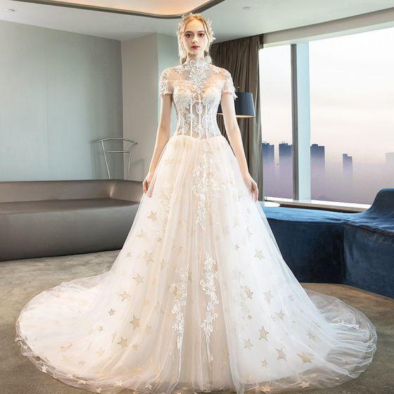 Modern / Fashion Ivory Corset Wedding Dresses 2018 A-Line .