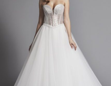 Glitter Strapless Ball Gown Wedding Dress With Corset Bodice And .