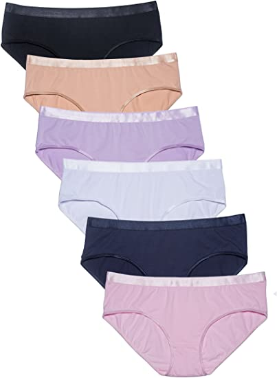 COSOMALL Women's Cotton Underwear Beyond Soft Briefs Panties Pack .