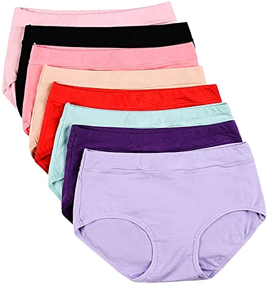 Buankoxy Women's 8 Pack Stretch Cotton Hipster Panties, Assorted .