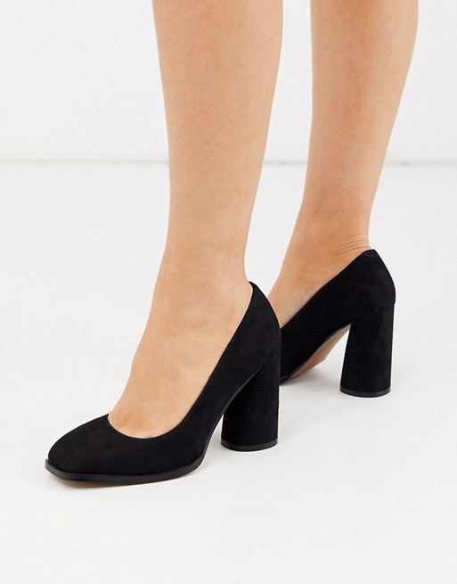 ASOS DESIGN Pinky square toe block heeled court shoes in black | AS