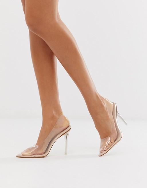 Public Desire Drank clear court shoes Beige Women Heels [1470730 .