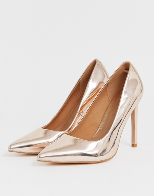 ASOS DESIGN Wide Fit Porto pointed high heeled court shoes in .
