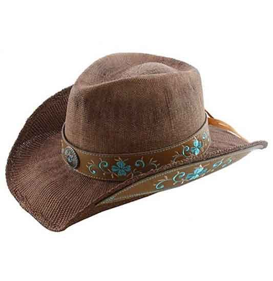 Brown Cowgirl Hat with Turquoise Embroide