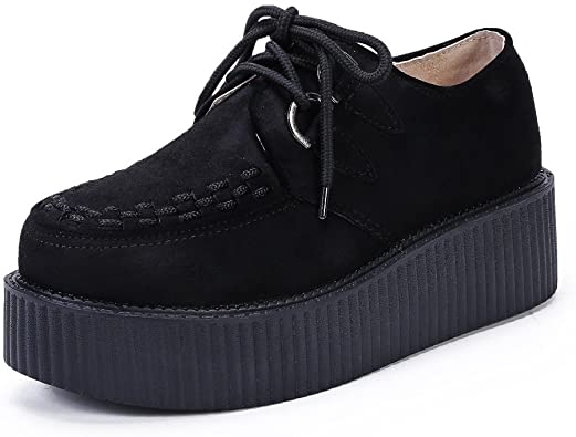 Amazon.com | Women's Creepers Wedge Platform Shoes Lace-Up Flat .
