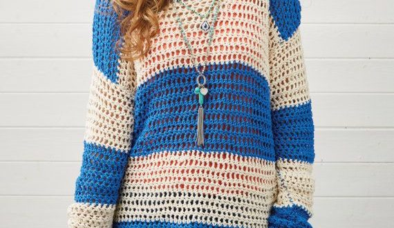 Simple stripes! Slouchy crochet sweater pattern from Simply .