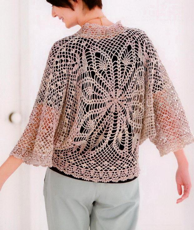 Crochet lace sweater for women with patte