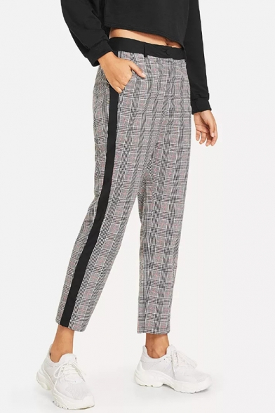 Women's Trendy Gray Plaid Pattern Casual Cropped Pants .