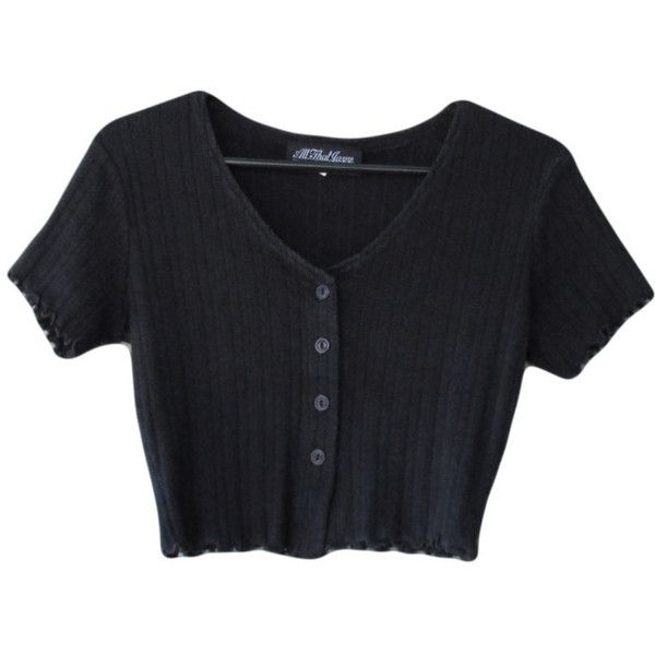 90s Crop Top Black Ribbed Fabric All That Jazz ($15) ❤ liked on .