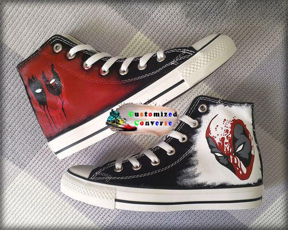 Deadpool Converse Shoes - Custom Converse Shoes by .