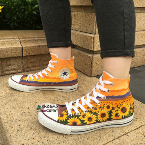 Custom Converse Shoes Sunflower Hand Pained High Top Canvas .