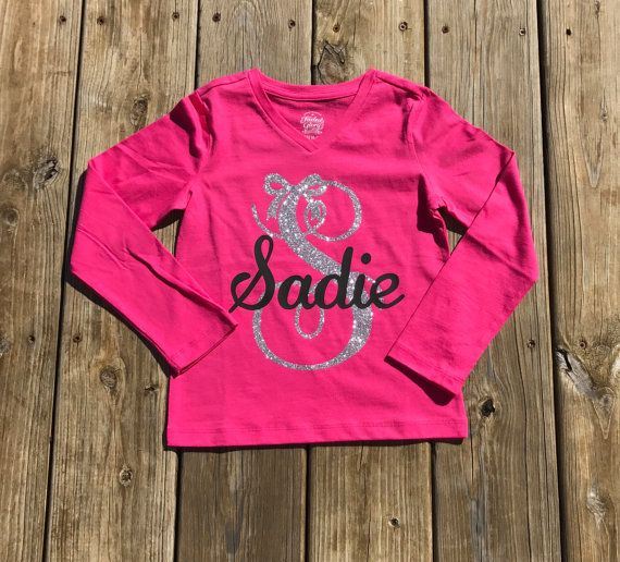 Little girls monogram shirts vinyl shirts custom shirts | Vinyl .