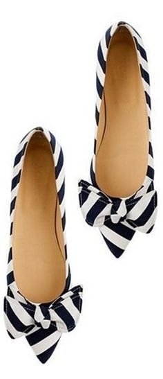 cute flats for women | Adorable cute black and white striped flats .