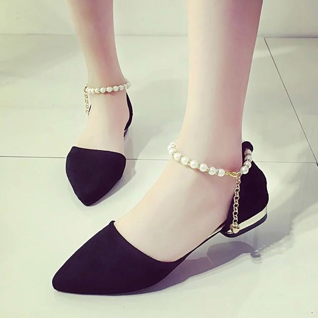 Plus Size Women Flats String Bead Ankle Strap Shoes Pointed Toe .