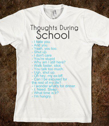 Thoughts During School - funny tops - cute Skreened T-shirts .