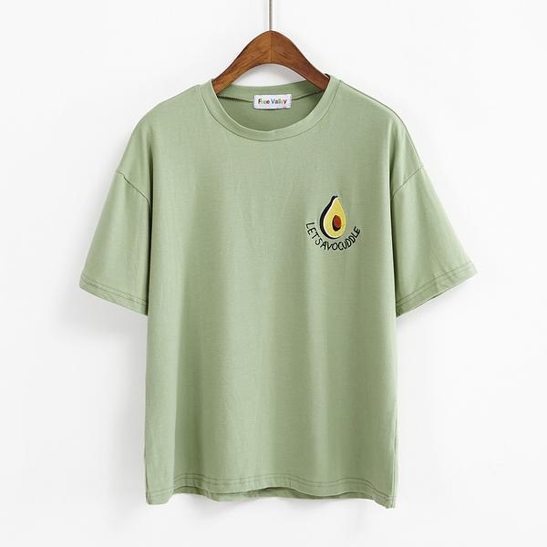 Cute Avocado Embroidery T-Shirt – Artistic B