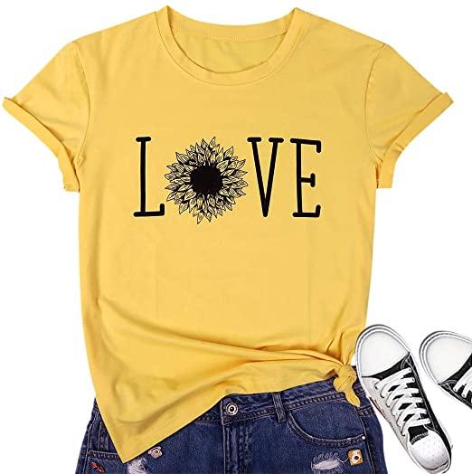 TAOHONG Sunflower Shirt Women Cute Sunflower T-Shirts Casual Short .