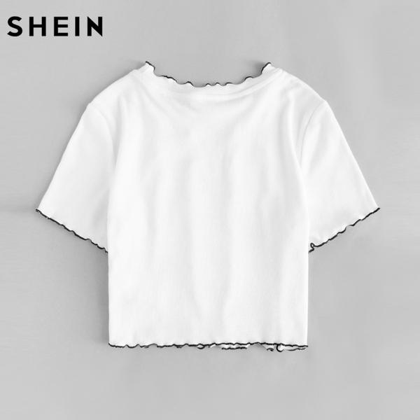 Pearl Beaded Lettuce Edge Crop Tee Casual Women T shirt Summer .