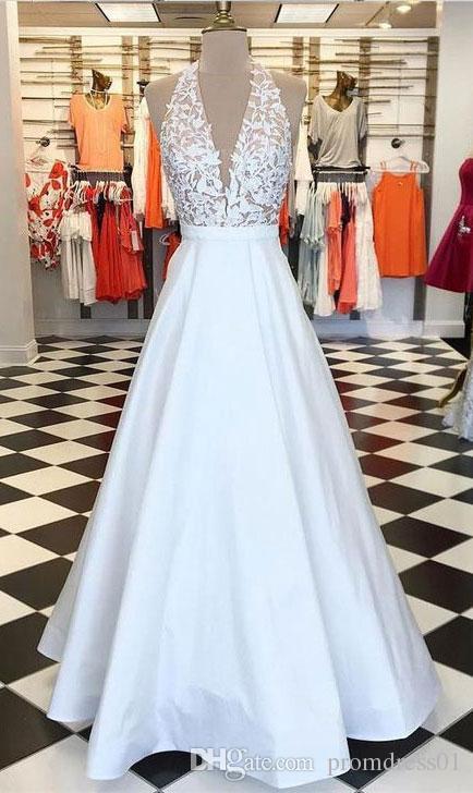 Hot Selling Halter White Backless Satin Long Prom Dresses Evening .