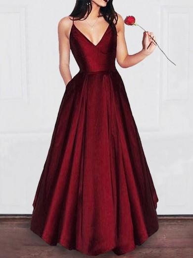 A-Line/Princess V-neck Floor-Length Satin Ruffles Debs Dress