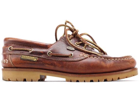 US men 8 Rust Brown Leather Boat Shoes 80s Vintage Waxed Deck   Et