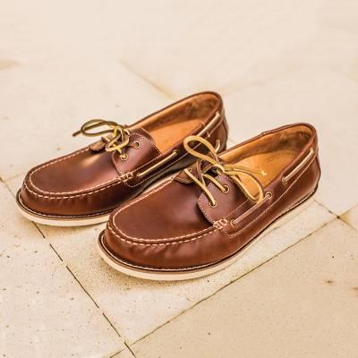 Men's Brown Oiled Leather Boat Shoe - Deck Days   NOVI