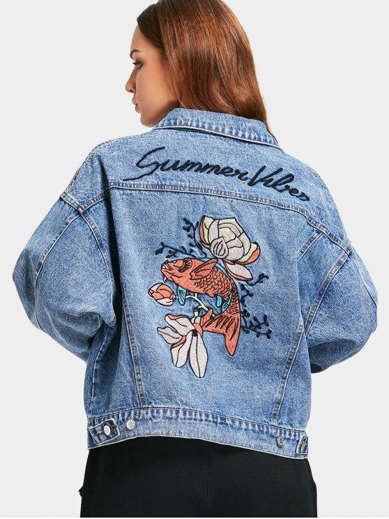 41% OFF] 2020 Button Up Fish Embroidered Denim Jacket In DENIM .