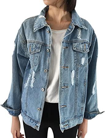 JUDYBRIDAL Oversize Denim Jacket for Women Ripped Jean Jacket .