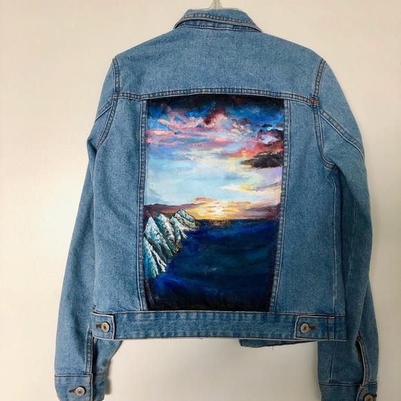 Jackets & Coats | Unique Hand Painted Denim Jacket Sunset | Poshma