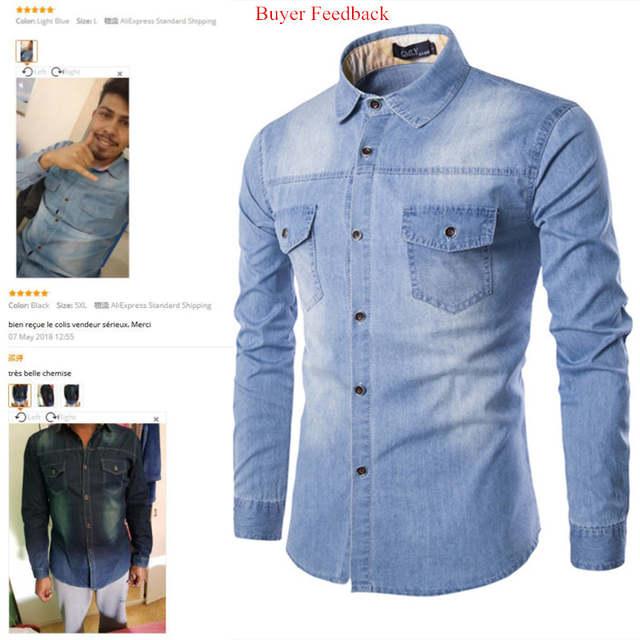 Fashion Mens Denim Shirt Long Sleeve Plus Size Cotton Jeans .
