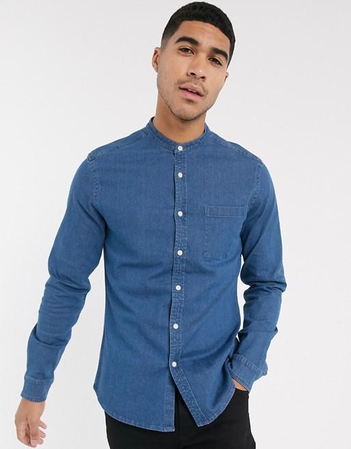 ASOS DESIGN stretch slim denim shirt in mid wash with grandad .