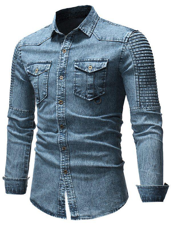 17% OFF] 2020 Long Sleeve Pleated Denim Shirt In BLUE | DressLi