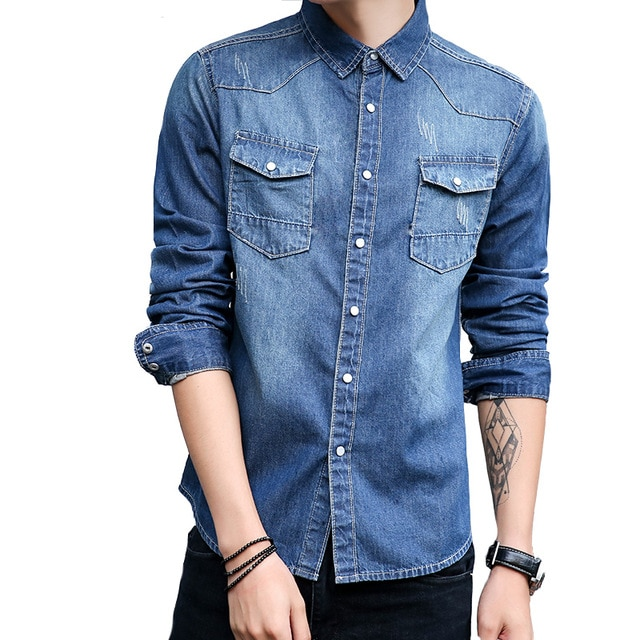 Men's Fashion Denim Shirt Retro Brand Long Sleeve Dress Shirt 100 .