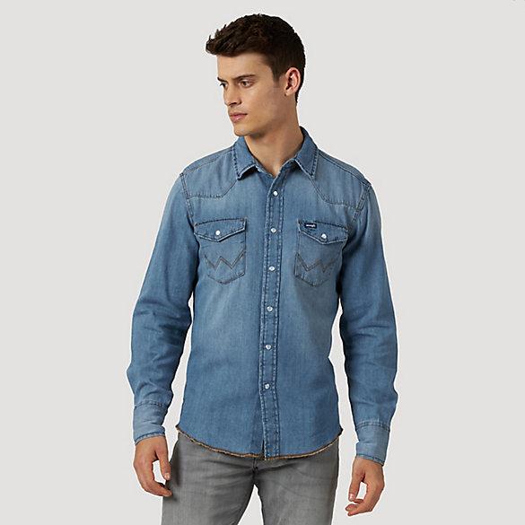 Men's Western Snap Denim Shirt | Mens Shirts by Wrangler